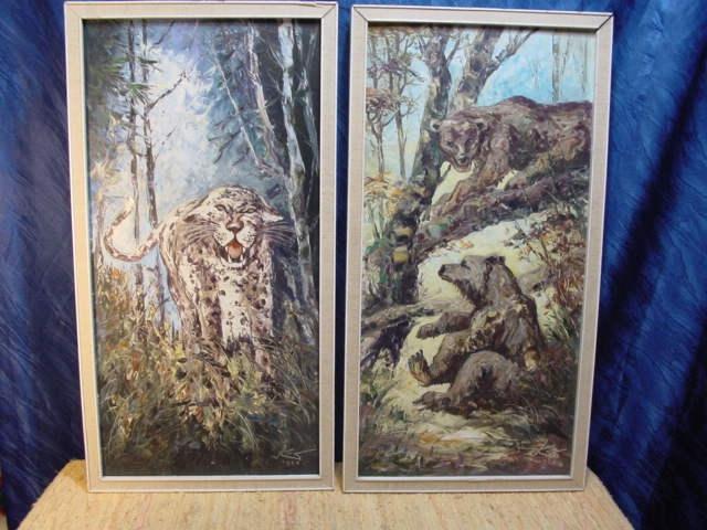G469/ Ölbild Zwei Bären sehr schöne Arbeit 1968 9