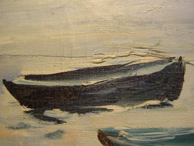 G490/ Ölbild, Stürmischer See/ Flußlandschaft 60 x 90 1
