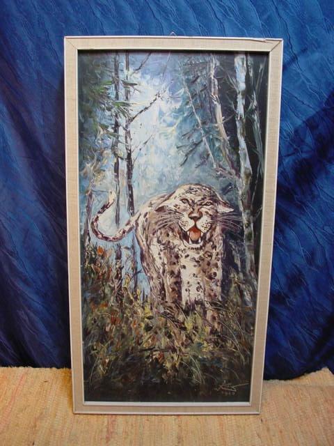 G468/ Ölbild Fauchender Leopard 33 x 63,5