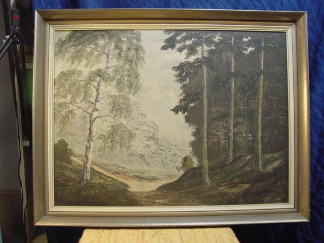 G499/ Ölgmälde von Hans Adolf Hornemann Waldmotiv