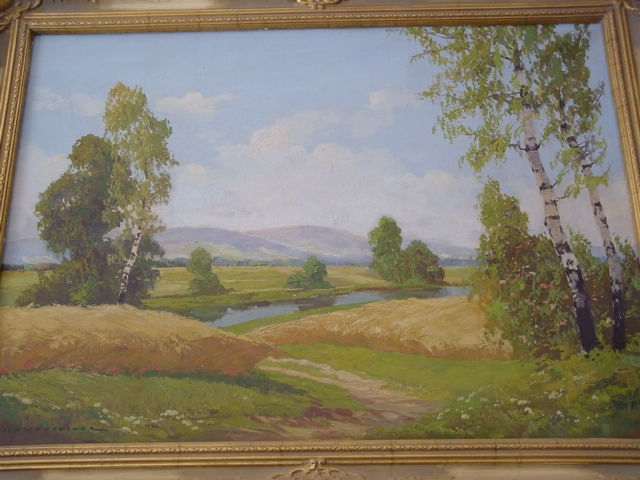 G276/ Gemälde, Birkenlandschaft Hans Steiner 1