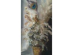 E773/ Ölbild Stilleben Amphore mit Blumen und Farn 2