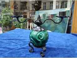 E199/ Curt Schlevogt Malachitglas Jadeglas Kerzenleuchter Art Deco