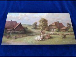 E219/ Kleines Ölbild signiert Miniaturmalerei Bauernhof