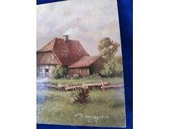 E219/ Kleines Ölbild signiert Miniaturmalerei Bauernhof 1