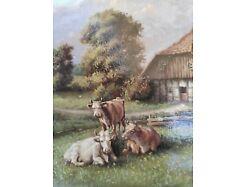 E219/ Kleines Ölbild signiert Miniaturmalerei Bauernhof 2