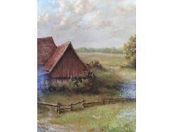 E219/ Kleines Ölbild signiert Miniaturmalerei Bauernhof 3