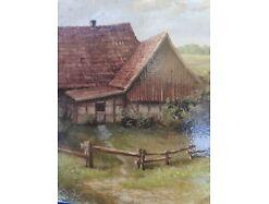 E219/ Kleines Ölbild signiert Miniaturmalerei Bauernhof 4