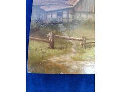 E219/ Kleines Ölbild signiert Miniaturmalerei Bauernhof 6