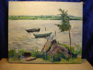 G490/ Ölbild, Stürmischer See/ Flußlandschaft 60 x 90
