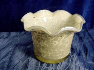 A365/ weiß graue Vase aus Glas