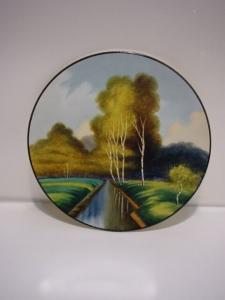 E193/ Wandteller Jugendstil Landschaft handgemalt landscape hand painted