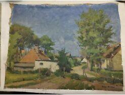 E293/ Ölgemälde Dorflandschaft Johannes Britze 1895 - 1960 Dänemark