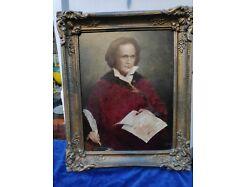 E298/Ölbild BEETHOVEN Portrait, Gemälde, Ölgemälde handgemalt signiert Preiss