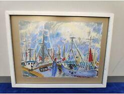 E296/ Gemälde von Egon Plany Pastell Videsande Hafen