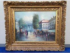 E294/ Öl Bild auf Leinwand Gemälde Paris Frankreich