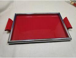E417/ Tablett Serviertablett Glastablett Metallrahmen 60er 0