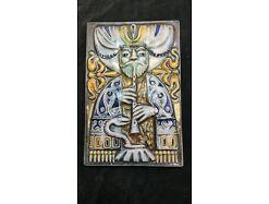 E474/Wandrelief Wandbild Keramik Schlangenbeschwörer Kunst Im Raum Riesa 70er