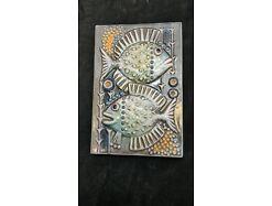 E472/Wandrelief Wandbild Keramik Fische Kunst Im Raum Riesa 70er