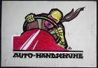 1920 Auto Automobil Handschuhe Reklame Original Entwurf Plakat Poster Zeichnung