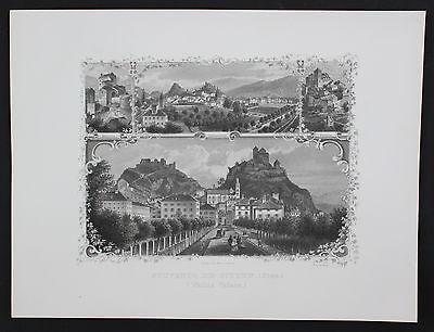 1870 Sitten Gesamtansicht Basilique de Valere Majorie Stahlstich Souvenir-Blatt