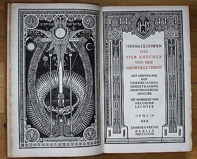 1922 - Thomas von Kempen - Nachfolge Christi - Einhorn Presse Melchior Lechter