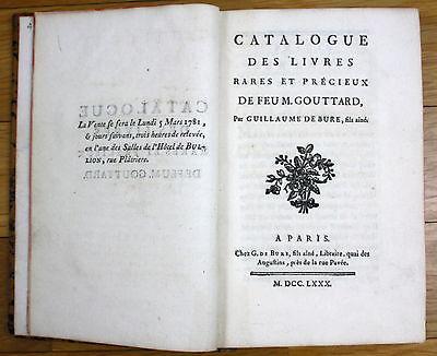 1780 Katalog Auktionskatalog Bücher books auction catalogue book Gouttard