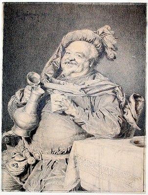 1891 - Eduard von Grützner Original Zeichnung Falstaff