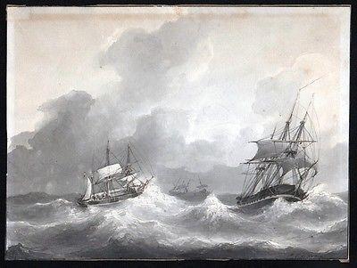 1850 - Petrus Jan Schotel Aquarell Schiff Marine Signed signiert watercolor
