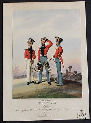 1835 Holstein Dänemark Denmark Uniformen uniforms Lithographie lithograph 0