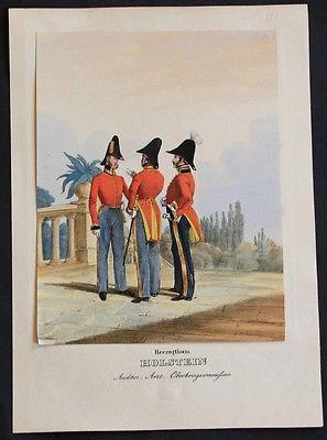 1835 Herzogtum Holstein Uniformen uniforms Lithographie Militaria Litho