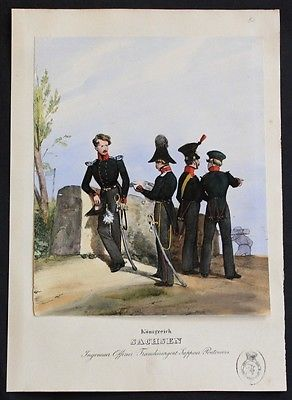 1835 - Sachsen Saxony Uniformen uniforms Lithographie Militaria Litho