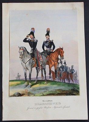 1835 - Braunschweig Uniformen uniforms Lithographie lithograph