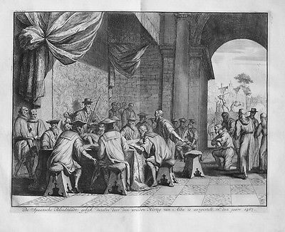 1728 - Blutrat Council of Troubles Count of Alba Kupferstich engraving