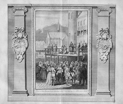 1728 - Johan van Oldenbarnevelt Hinrichtung Kupferstich gravure engraving map
