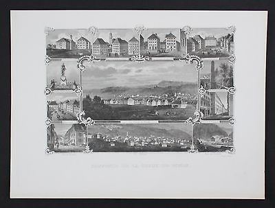 1870 - La Chaux-de-Fonds Place de l'Hotel de Ville Stahlstich Souvenir-Blatt