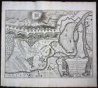 1735 Schlacht von Donauw�rth 1704 Donau Karte map Kupferstich