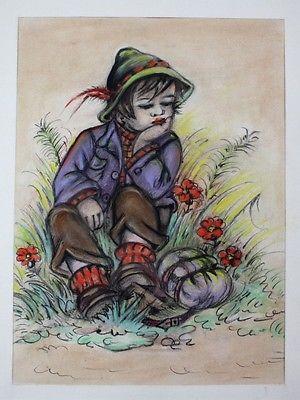 1930 - Junge Kind Wiese Zeichnung Tilly von Baumgarten