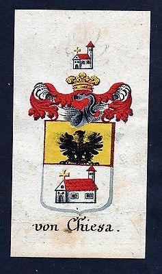 18. Jh - von Chiesa Böhmen Wappen coat of arms Manuskript