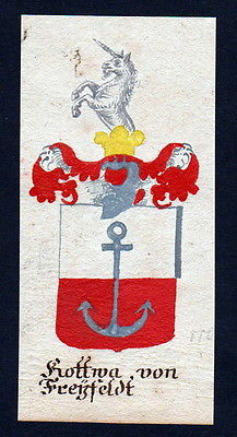 18. Jh Kottwa Freyfeld Böhmen Manuskript Wappen Adel coat of arms heraldry