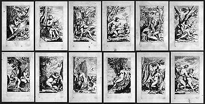 17. Jh. Odoardo Fialetti Venus and cupid / Engel 12 Radierungen etchings series