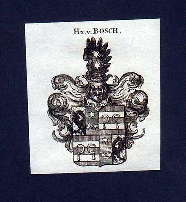 1780 - Herren v. Bosch Heraldik Kupferstich Wappen engraving Heraldik crest