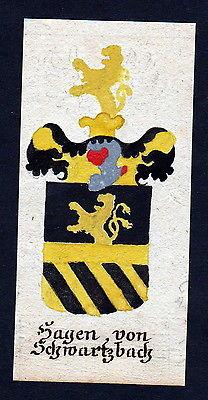 18. Jh Hagen Schwarzbach Böhmen Manuskript Wappen Adel coat of arms heraldry