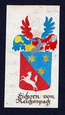 18. Jh Eichorn Reichenpach Böhmen Manuskript Wappen Adel coat of arms heraldry