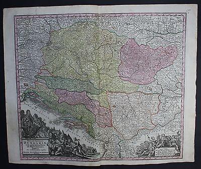 1740 Croatia Montenegro Bosnia Herzegovina Serbia map Karte Seutter engraving