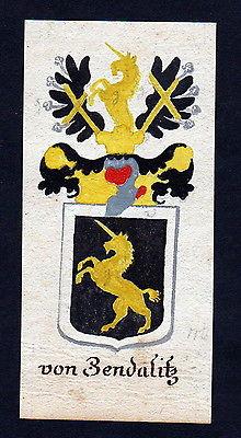 18 Jh von Zendalitz Böhmen Manuskript Wappen Adel coat of arms heraldry Heraldik