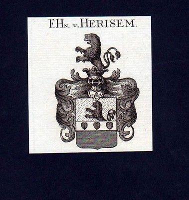 1780  Freiherren v. Herisem Heraldik Kupferstich Wappen Heraldik coat of arms