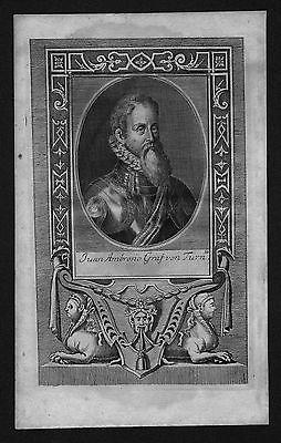 1720 - Count Juan Ambrosio Graf Von Turn engraving Kupferstich Portrait