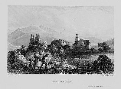 1840 - Buchberg Bukovea Kirche Bauern Tschechien engraving Original Stahlstich