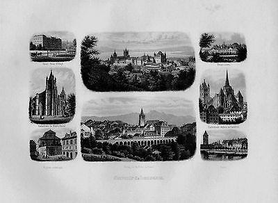 1840 - Lausanne Kanton Waadt Notre-Dame Souvenir Blatt Stahlstich Schweiz